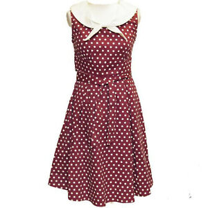 Lunares-Vestido-Marinero-Nautico-por-Dolly-amp-Dotty-anos-50-Rockabilly-Talla-12