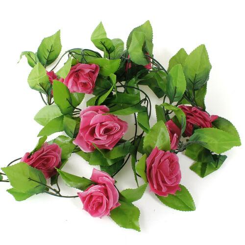 8Ft Artificial Rose Garland Silk Flower Leaf Vine Ivy Home Wedding Garden Decor