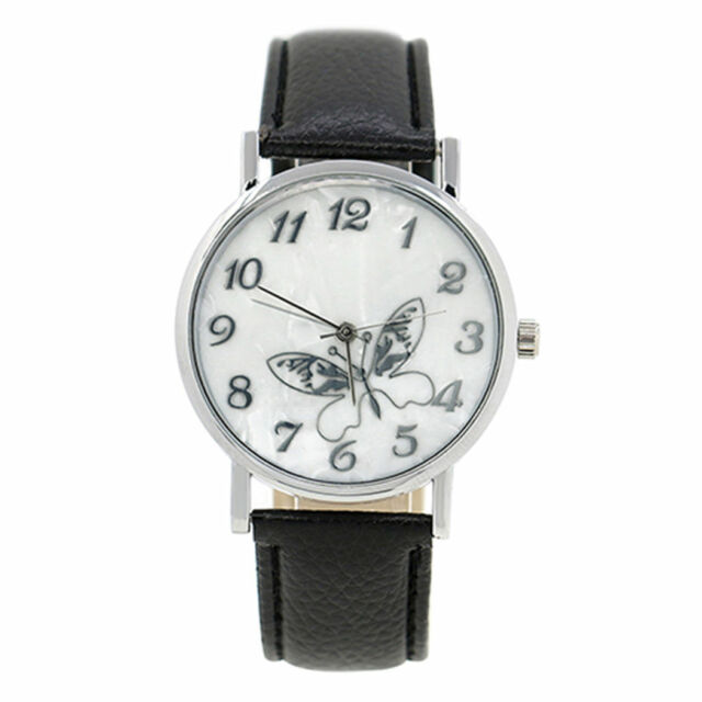 Ladies Fashion Silver White Butterfly Patterned Face Black Band Wrist Watch.