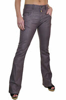 Ice (1500-3) Flare Jeans Stretch Denim Look With Shine Brown 6-14