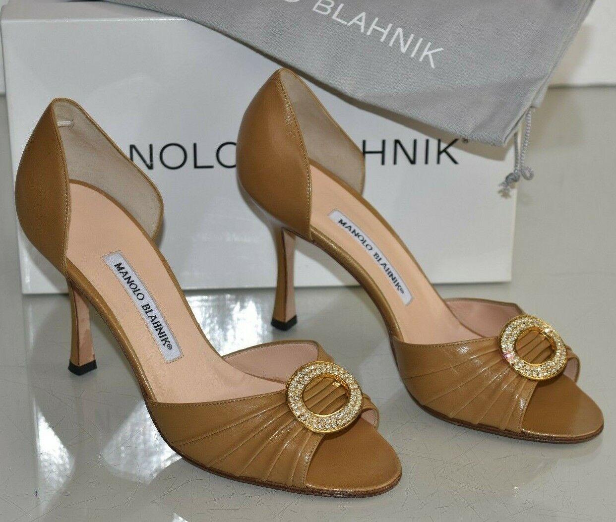 775 New MANOLO BLAHNIK SEDARABY beige camel leather gold jeweled SHOES 38.5