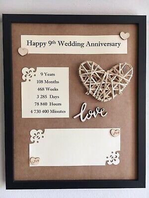 9th Wedding Anniversary Frame Rustic Gift Willow 3d Handmade Wooden Love 22x27cm Ebay