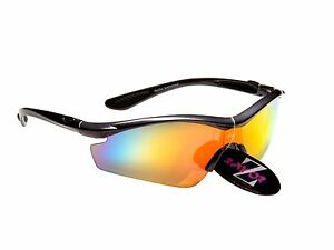 RayZor Liteweight UV400 Gunmetal Grey Sports Wrap Hiking Sunglasses, Red Mirr...