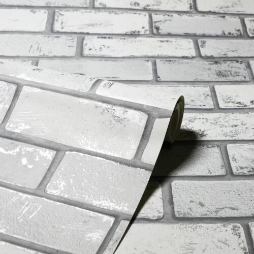 Silver Arthouse 692201 Realistic Look Metallic Brick Wall Wallpaper White