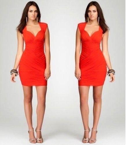 NWT bebe Orange rot mesh back ruched deep v stretchy bodycon top dress XS 0 2
