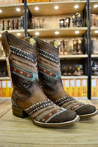 Corral Ladies Turquoise Brown Embroidered and Studs Leather Boots A3424