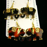 1.25 Gold Trim & Shell Look Elephant Earrings/ 3 Colors To Choose From