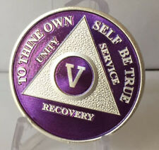 Purple & Silver Plated 5 Year AA Chip Alcoholics Anonymous Medallion Coin Five