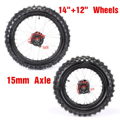 15mm Axle Hole Wheels Set 60//100-14 80//100-12 Dirt Pit Bike Honda KLX Yamaha