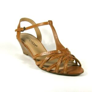 Emotion-Zara-Womens-Tan-Brown-Leather-Wedge-Heel-Sandals-Size-5-8-Wide-Fit