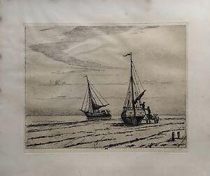 JOHAN-GUDMANN-ROHDE-1856-1935-FISCHERBOOTE-AM-STRAND-UM-1900-JUGENDSTIL