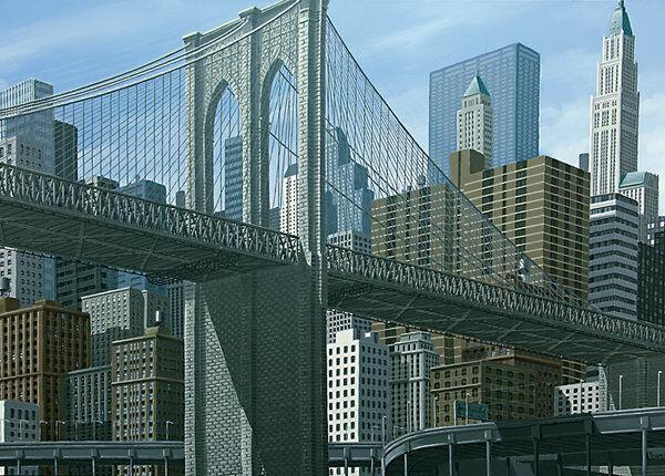 Peyret  From East river New York Fertig-Bild 50x70