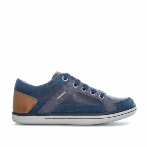 Boy/'s Geox Junior Garcia Lace up Breathable Trainers in Blue