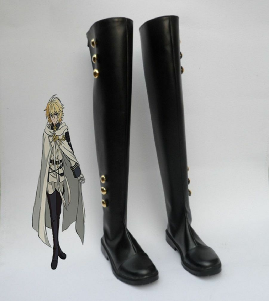 Seraph of the End Mikaela Hyakuya Military Cosplay Costume Prop shoes Rain Boots