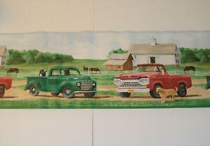 Vintage Country Farm York Wallpaper Border Ford Trucks Retriever Dogs Horses