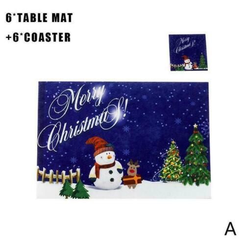 6Pcs Christmas Table Mats Tapestry Placemats Reindeer Xmas Cute Decor Santa R7P7
