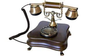 Telefono-Fijo-Diseno-Vintage-de-Madera-Antiguo-Retro-con-Cable-y-Disco-de-Marcar