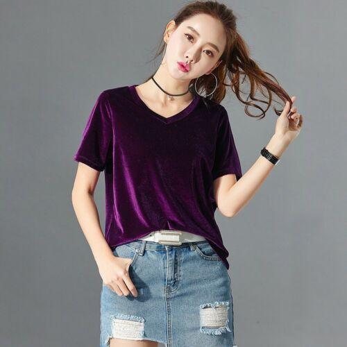 Lady Velvet T-Shirts Short Sleeve V Neck Casual Baggy Basic Tees Blouse Pullover