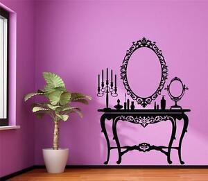 Wall-Art-sticker-decal-vinyl-Vintage-Antique-Ladies-Dressing-Table