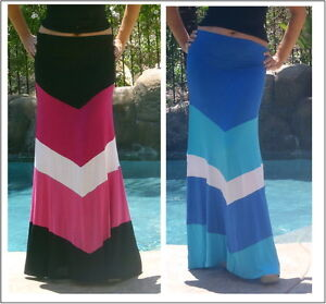 Maya Antonia-TALL-PLUS SIZE-Slimming Blue White Chevron Maxi Skirt-Extra Long