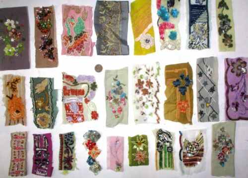 """A VERY RARE LOT Antique Vintage Sari TRIM LACE RIBBON 25 Pc BEADS SEQUIN 2/"""" to4/"""""""