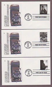 US # 3649 a-t Masters of American Photography on 20 Lakestamps Silk Cachet FDCs