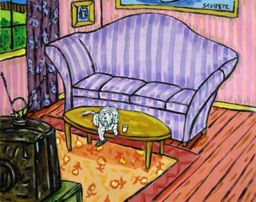 maltese WATCHING TELEVISION animal dog art  4x6  GLOSSY PRINT