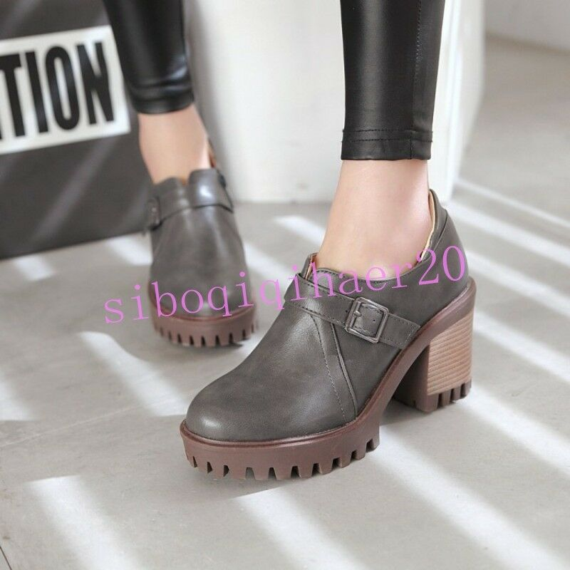 Korean Womens Pu Leather shoes Block Heel Round Toe Buckle Strap Plus US4.5-10.5