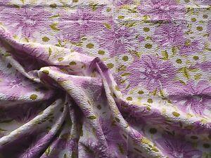 Vintage-1950-039-s-Cotton-Seersucker-Dress-Making-Fabric-Big-Mauve-Flowers