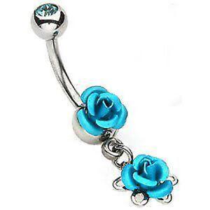Double-Metal-Bleu-Rose-Banane-Piercing-Nombril-avec-Boule-Gemmes-Chirurgie-Acier