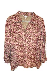 CJ Banks women's 2X Dark Pink/Taupe button up long sleeve Casual shirt. EUC.