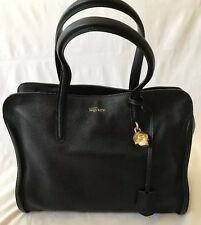 New Alexander McQueen Gold Skull Lock Duffel Bag Black Leather Double Zip tote