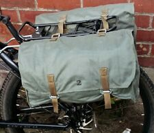 1980s Army Surplus Green Canvas Pannier Bags showerproof bike retro vintage NOS