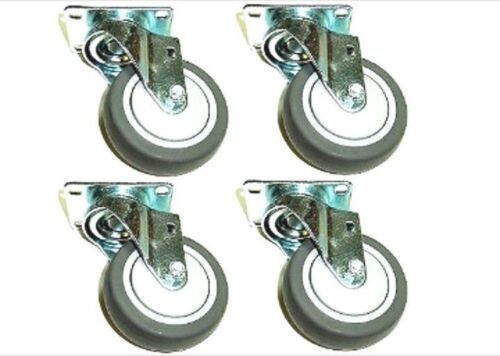 """Set of 4 Swivel Casters with Soft Rubber 5/""""x1-1//4/"""" Wheels and Thread Guards"""