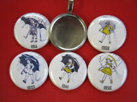 Morton Salt Girl 5 Interchangeable Magnetic Pendant W/black Necklace