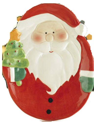 """gâteaux de Noël Nouveau ~ /""""Santa/"""" plat de service 8 /""""x 6/"""" plat en céramique pour tartes etc.."""