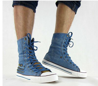 New Men Denim High Top Lace Up Studded Canvas Shoes Casual Flat Sneakers Fashion