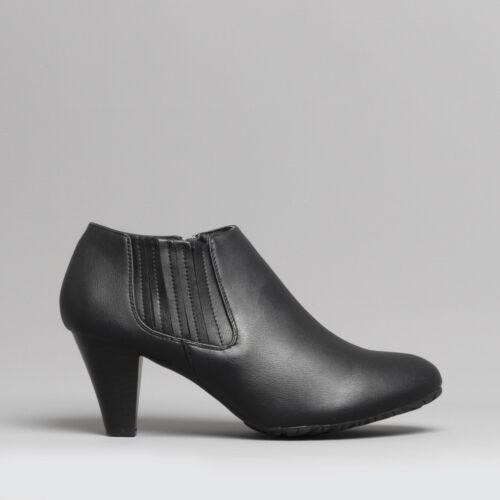 Comfort Plus Iona Femme Zip Wide Fitting Bottines à talon bottier Noir