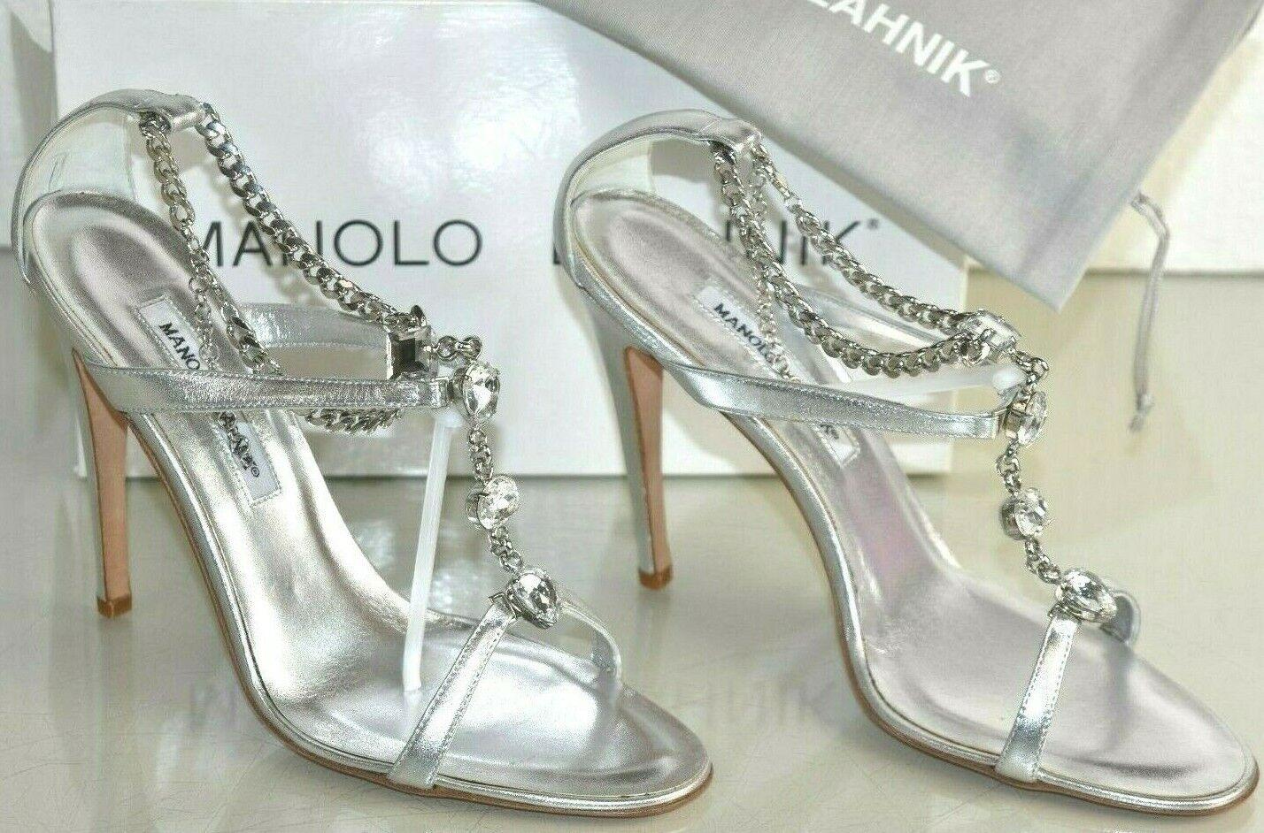 Nuevo Manolo Blahnik Prefe con Cuentas Sandalias Cristales Plata Zapatos de Boda