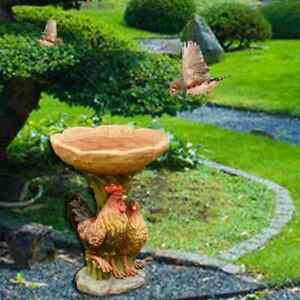 Rooster Style Bird Bath & Feeder Traditional Pedestal Free Standing Garden