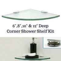Corner Tempered Glass Shower Shelf Kit Rounded - With Half-round Mounting Clamps