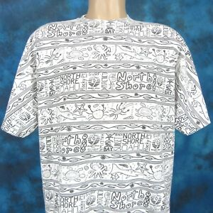 74691bd11e15c6 vintage 90s PACIFIC GLASS HAWAII SURF ALL-OVER PRINT T-Shirt XL ...