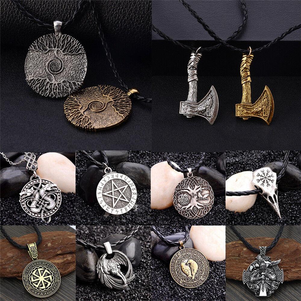 Men Nordic Viking Mjolnir Pendant Leather Cord Myth Thor's Hammer Norse Necklace 4