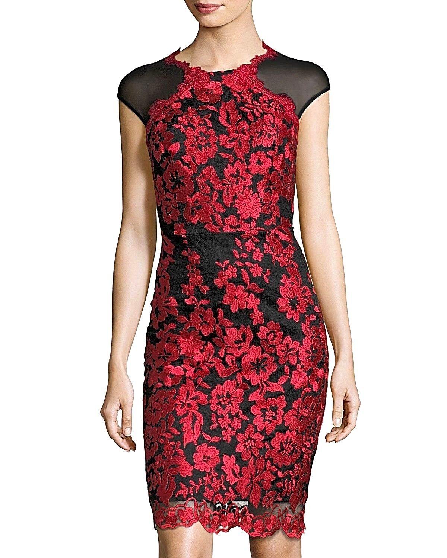 JAX Embroiderot Cap-Sleeve schwarz rot Mesh Dress Sz. 4  NWT  SPECTACULAR