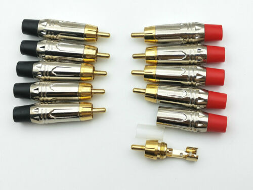 10pcs Gold plated brass RCA plug Audio connector soldering