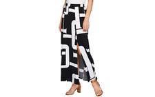 904d285b4f item 2 Susan Graver Petite Printed Liquid Knit Six Gore Maxi Skirt with  Slit Black PS J -Susan Graver Petite Printed Liquid Knit Six Gore Maxi Skirt  with ...