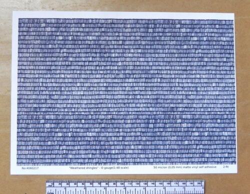 """/"""" Verwitterte Dach Schindeln /"""" vinyl-a4 Folie o-messgerät 297 x 1:48 Maßstab"""