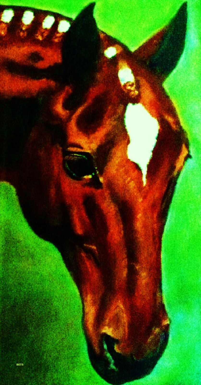HORSE PRINT Giclee THgoldUGHBRED Art RED artist BETS 7 COLORS print size 12 X21