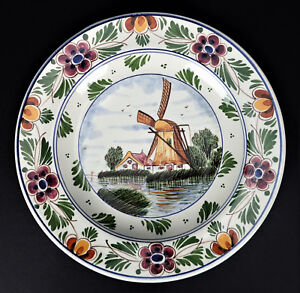 Details About Delft Ceramic Plate Handpainted Windmill 9 5 Wall Decor Pottery