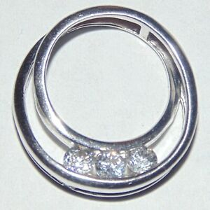 Signed-Ross-Simons-sterling-silver-3-clear-CZ-round-circle-slider-pendant-China